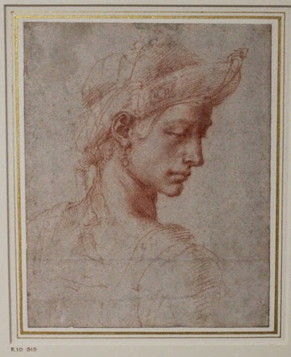 Ideal male head drawing by Michelangelo