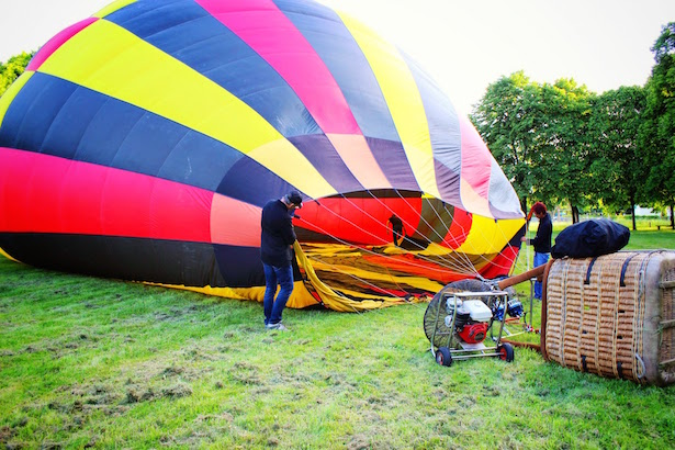 Inflating the Hot Air Balloon in Tours, France