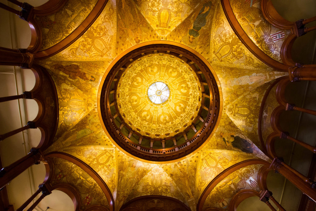 Photo: Teri Didjurgis • BlueSkyTraveler || Ponce de Leon Hotel • Flagler College Lobby Ceiling