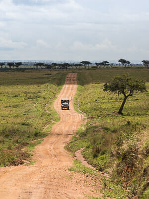 Long Dirt Road on Safari in Kenya