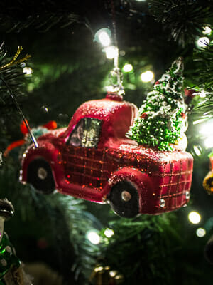 USA Red Truck Christmas Ornament